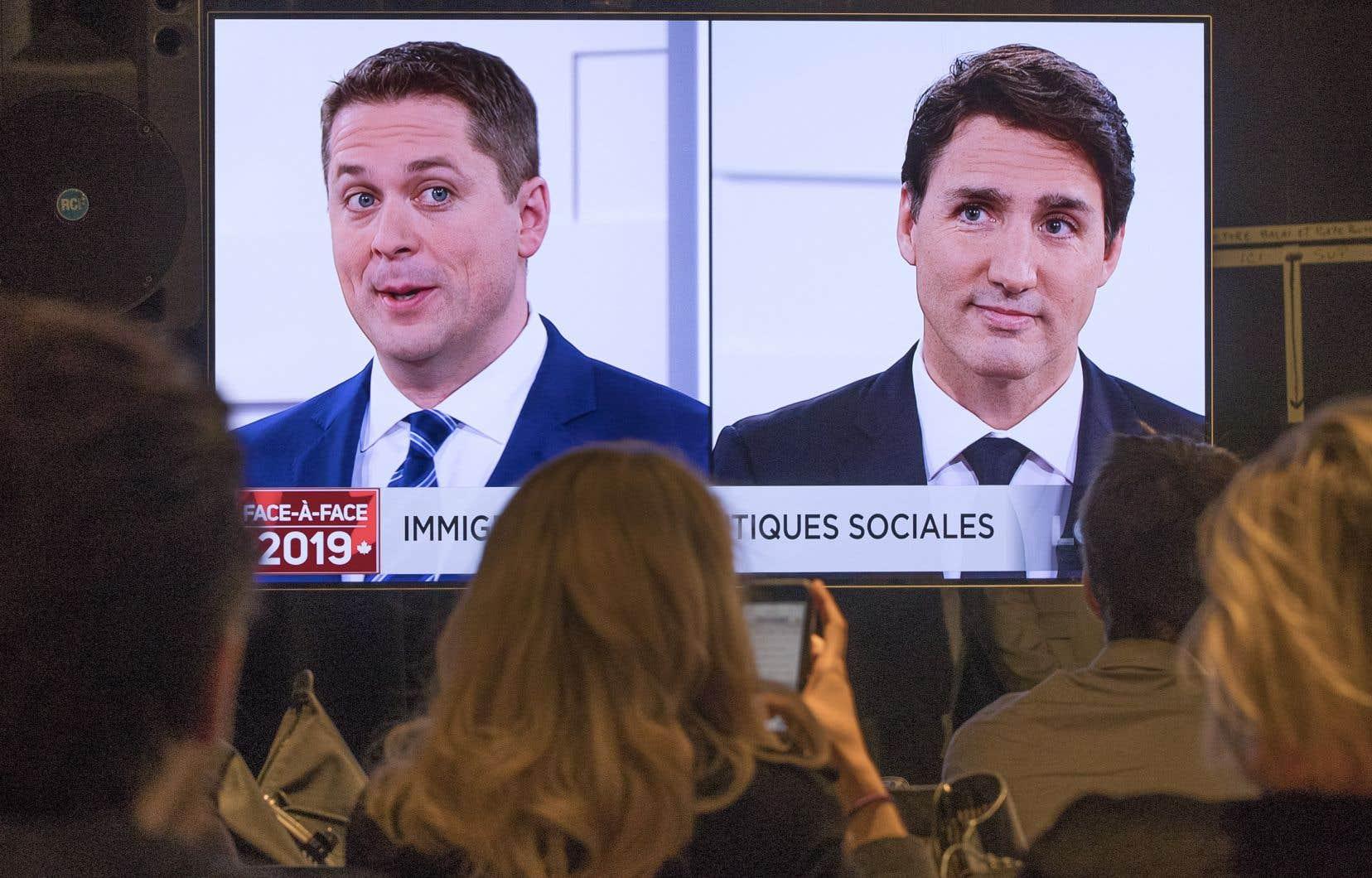 Le chef conservateur, Andrew Scheer, et le chef libéral, Justin Trudeau
