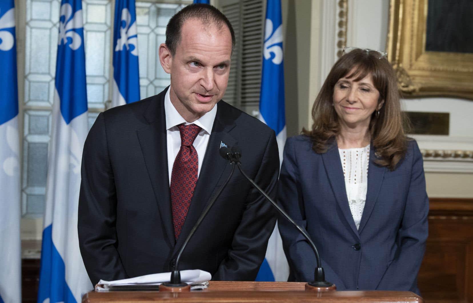 Le ministre des Finances, Eric Girard, et la ministre de la Culture et des Communications, Nathalie Roy