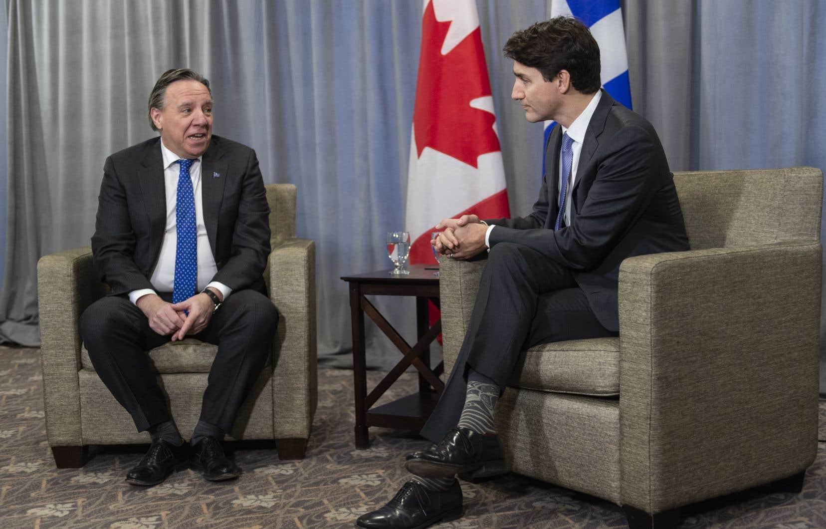 Le premier ministre François Legault et le chef libéral Justin Trudeau