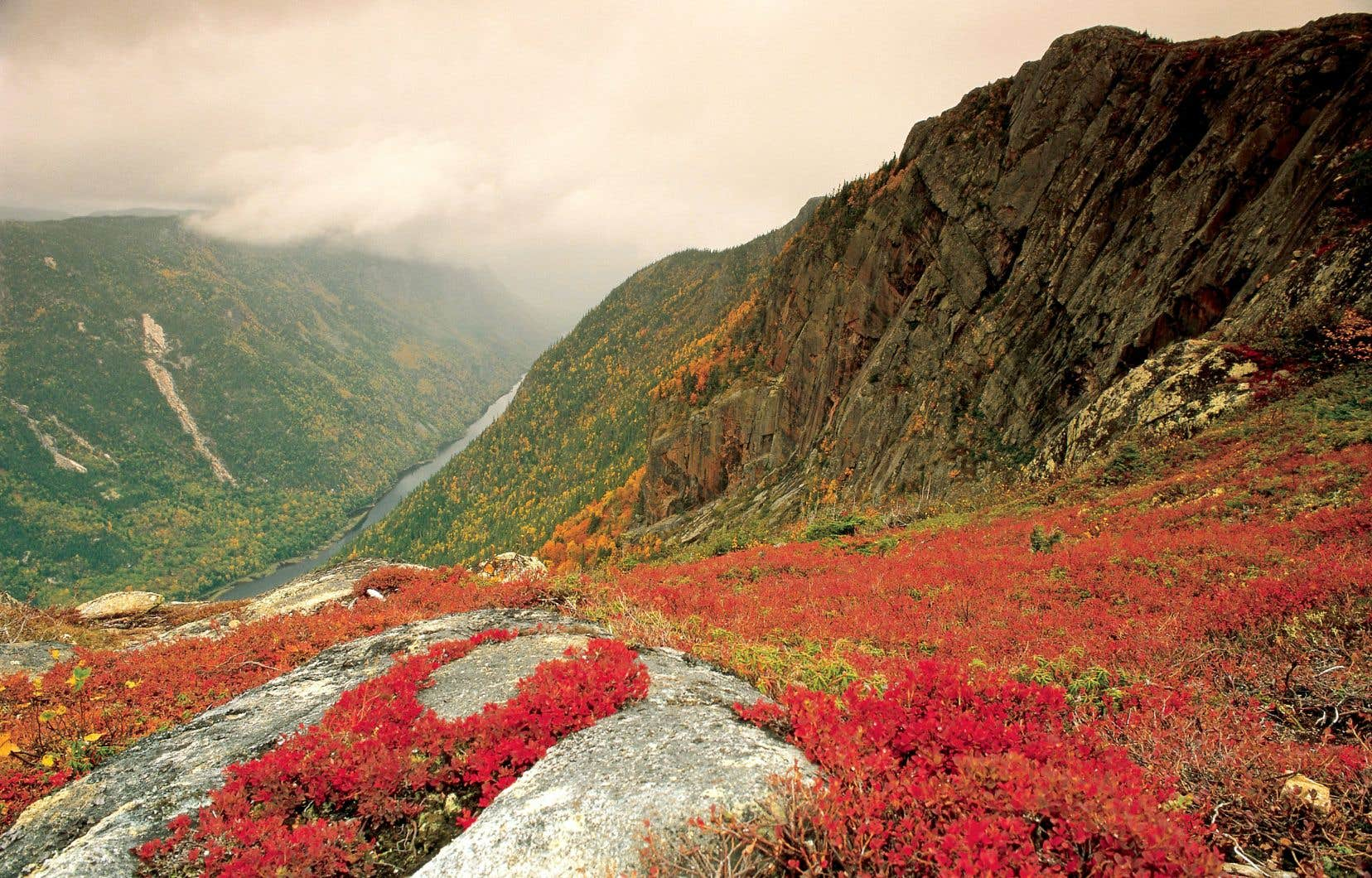 Vue du sommet de l'Acropole des Draveurs, un sentier situé dans le parc national des Hautes-Gorges-de-la-Rivière-Malbaie, dans Charlevoix. La région est réputée pour  ses paysages à couper le souffle.