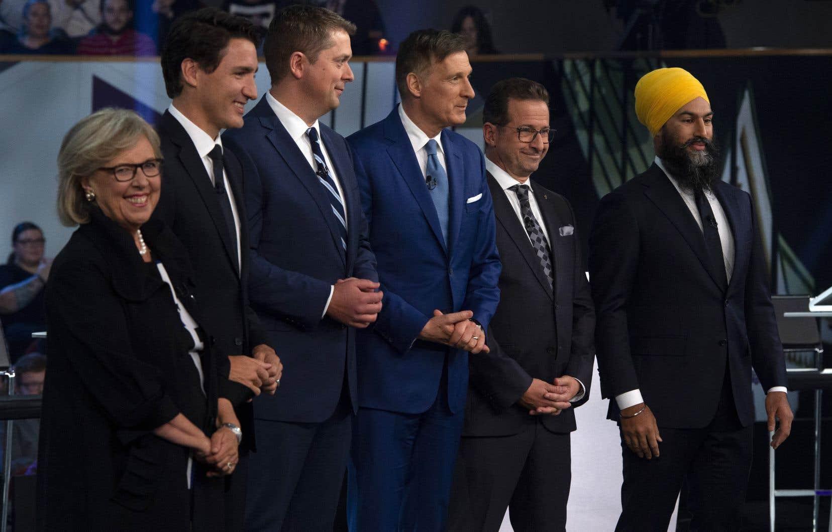 Elizabeth May,Justin Trudeau,Andrew Scheer,Maxime Bernier,Yves-Francois Blanchet etJagmeet Singh