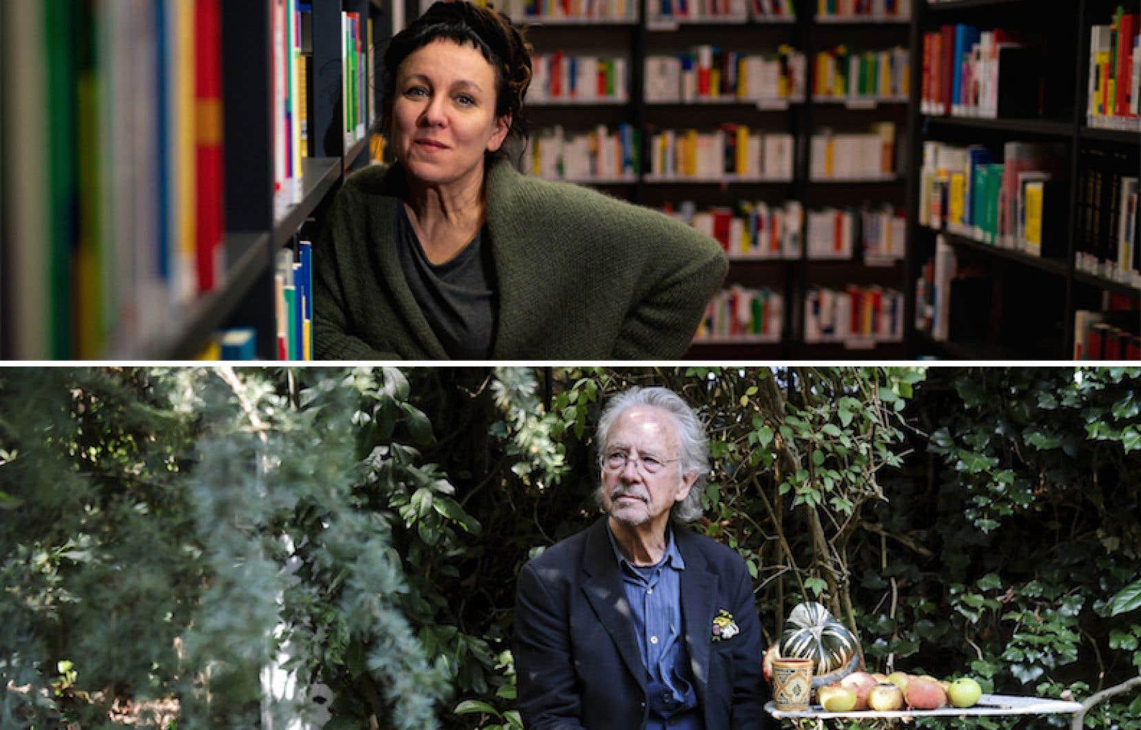 L'écrivaine polonaise Olga Tokarczuk et son homologue autrichien Peter Handke