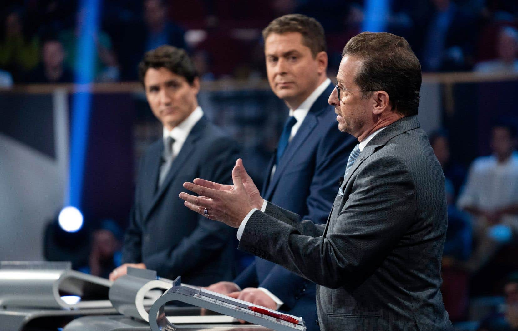 Le chef libéral Justin Trudeau, le chef conservateur Andrew Scheer et le chef du Bloc québécois, Yves-François Blanchet