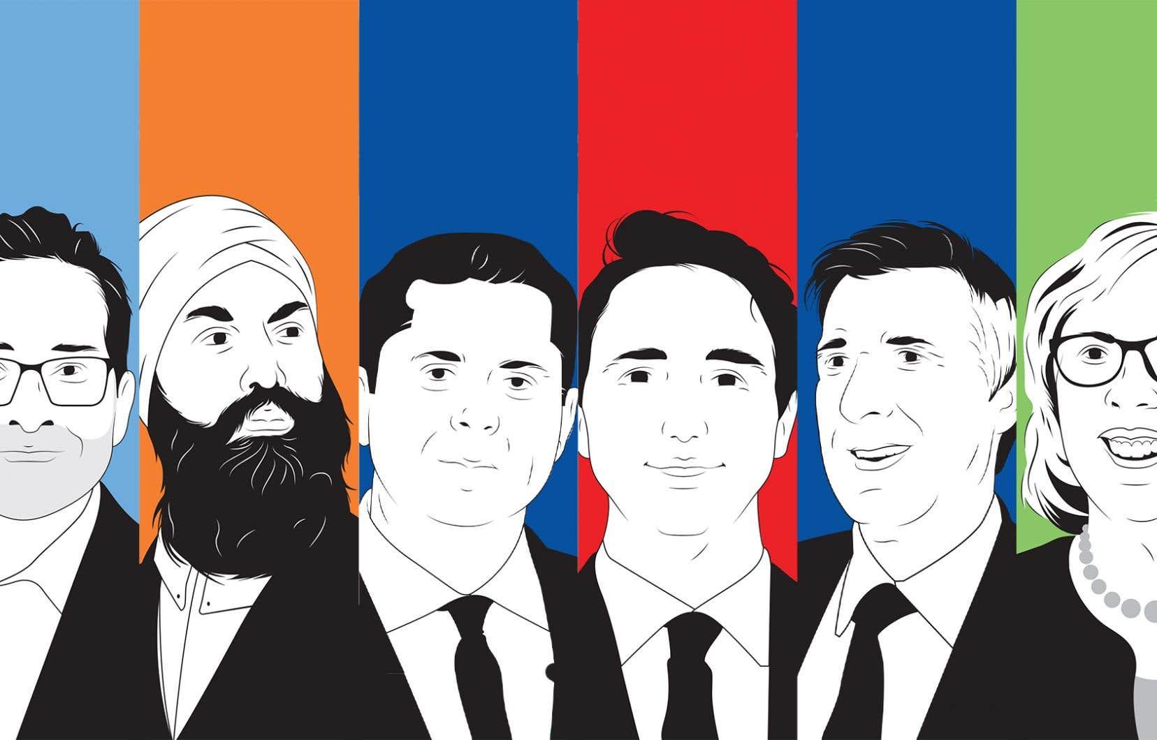 Les six chefs fédéraux: Yves-François Blanchet (Bloc québécois), Jagmeet Singh (Nouveau Parti démocratique), Andrew Sheer (Parti conservateur), Justin Trudeau (Parti libéral), Maxime Bernier (Parti populaire du Canada) et Elizabeth May (Parti vert)