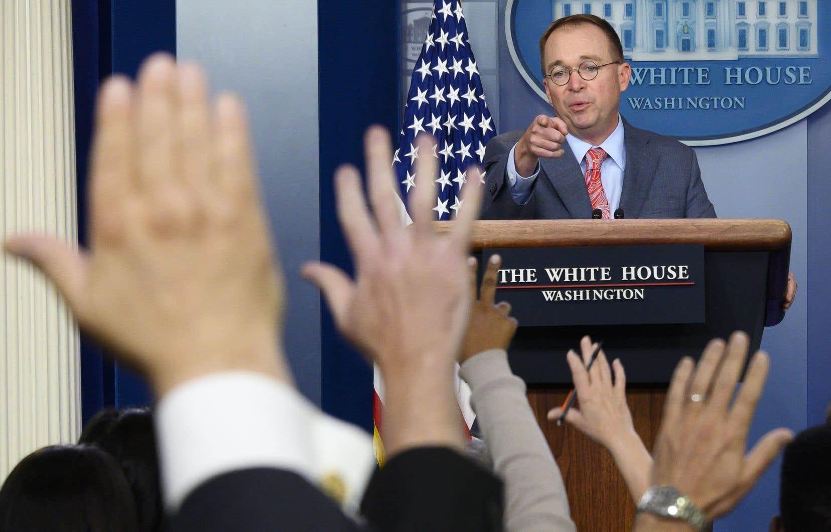 Le chef de cabinet de la Maison-Blanche, Mick Mulvaney, a créé la surprise en lâchant cet aveu au détour d'une conférence de presse sur le G7.