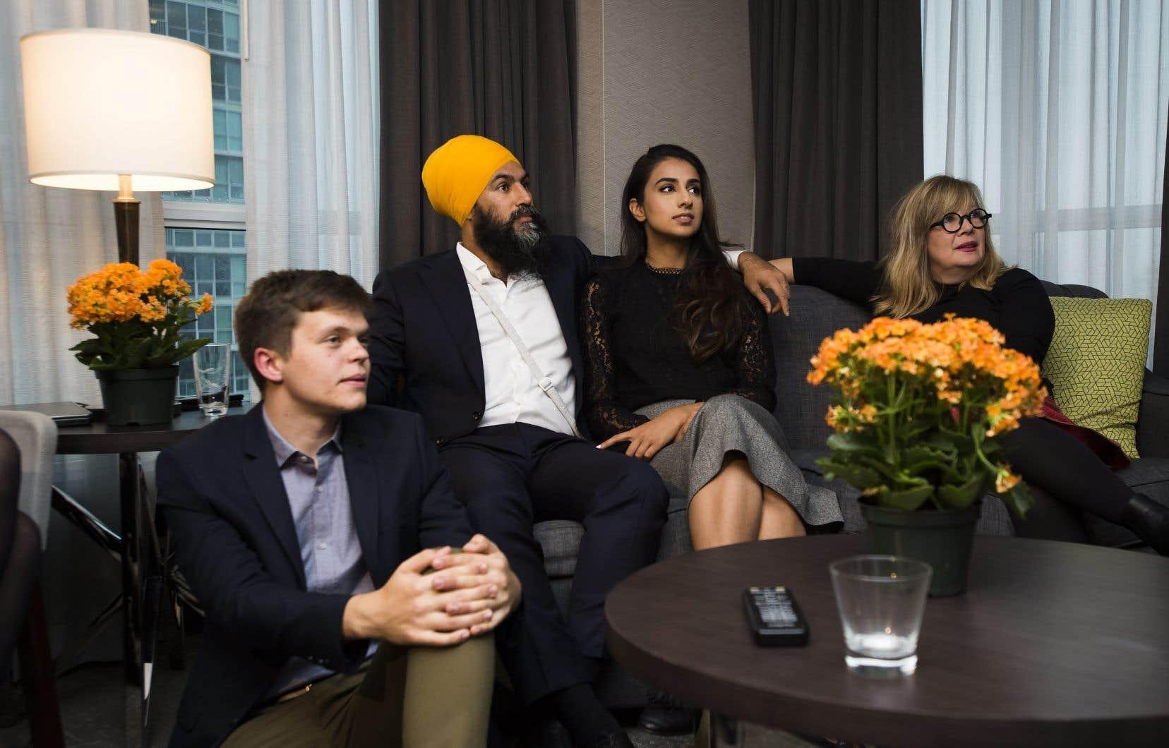 Le chef du parti, Jagmeet Singh, attendait les résultats, dans un hôtel de Burnaby, en Colombie-Britannique.