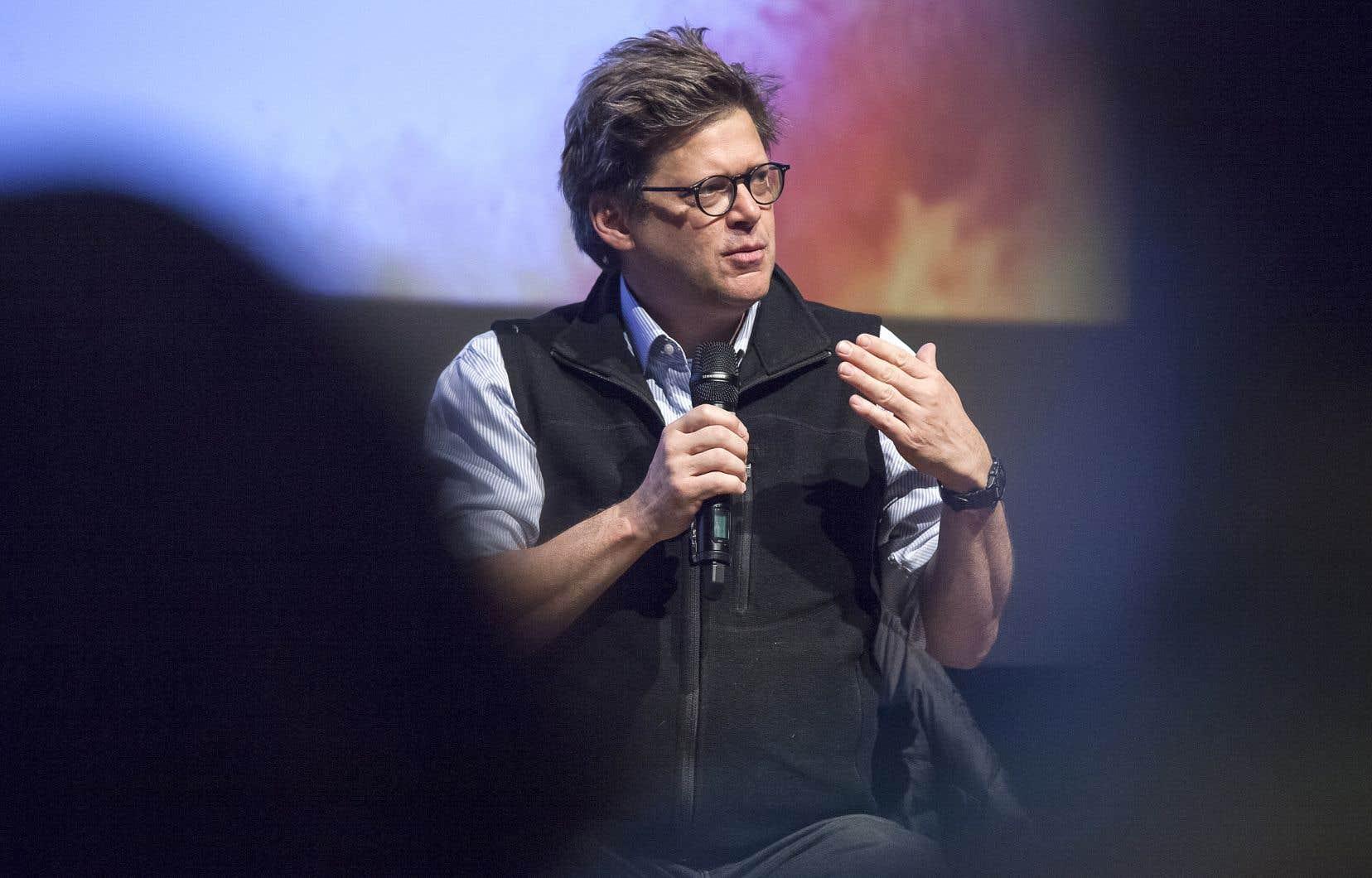 L'instigateur du Pacte pour la transition, Dominic Champagne, pendant le débat du Monde Festival.