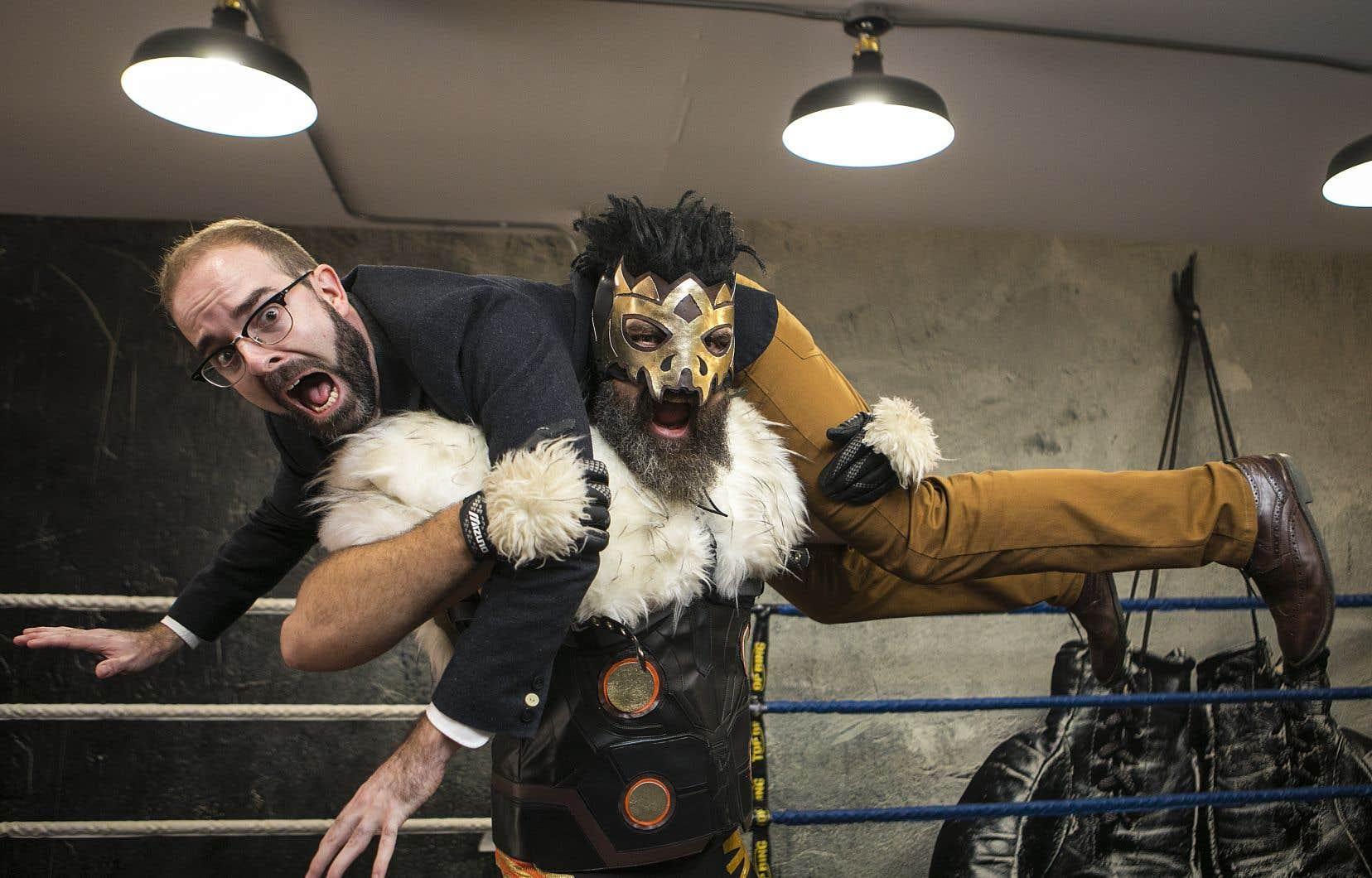 Mathieu Poulin et le lutteur The Animal Bob Anger