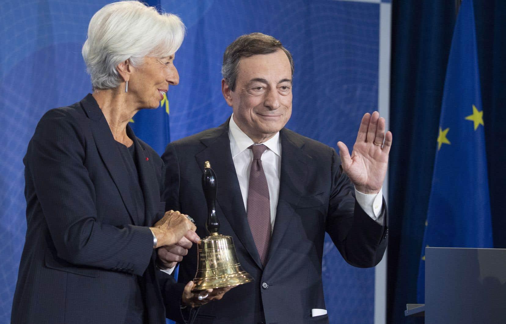 Christine Lagarde et Mario Draghi, le 28 octobre dernier