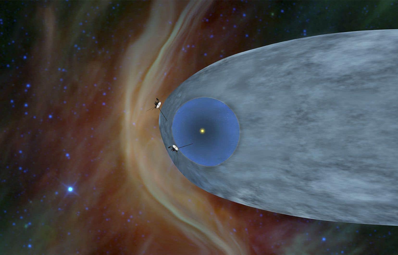 Le 5 novembre 2018, sept ans après <em>Voyager 1</em>, <em>Voyager 2</em> est passée de l'autre côté du bouclier créé par le vent solaire, l'héliosphère, et navigue maintenant dans l'espace interstellaire.