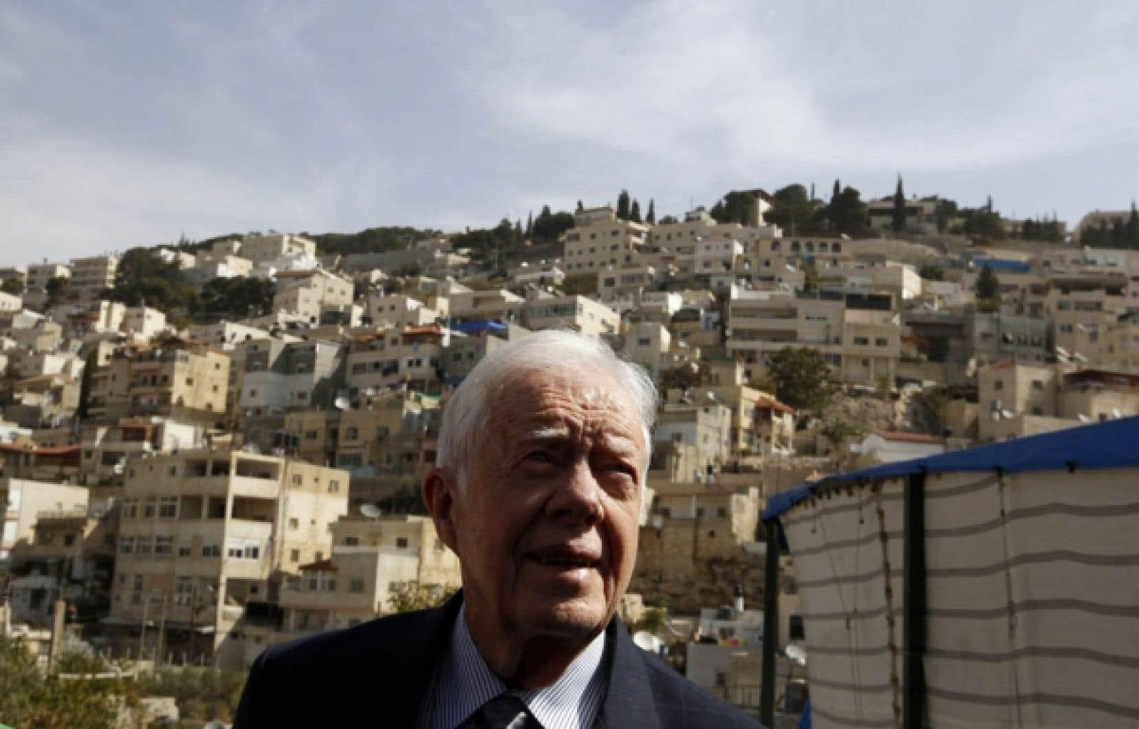 Jimmy Carter, un des Sages, était à Jérusalem-Est hier.<br />