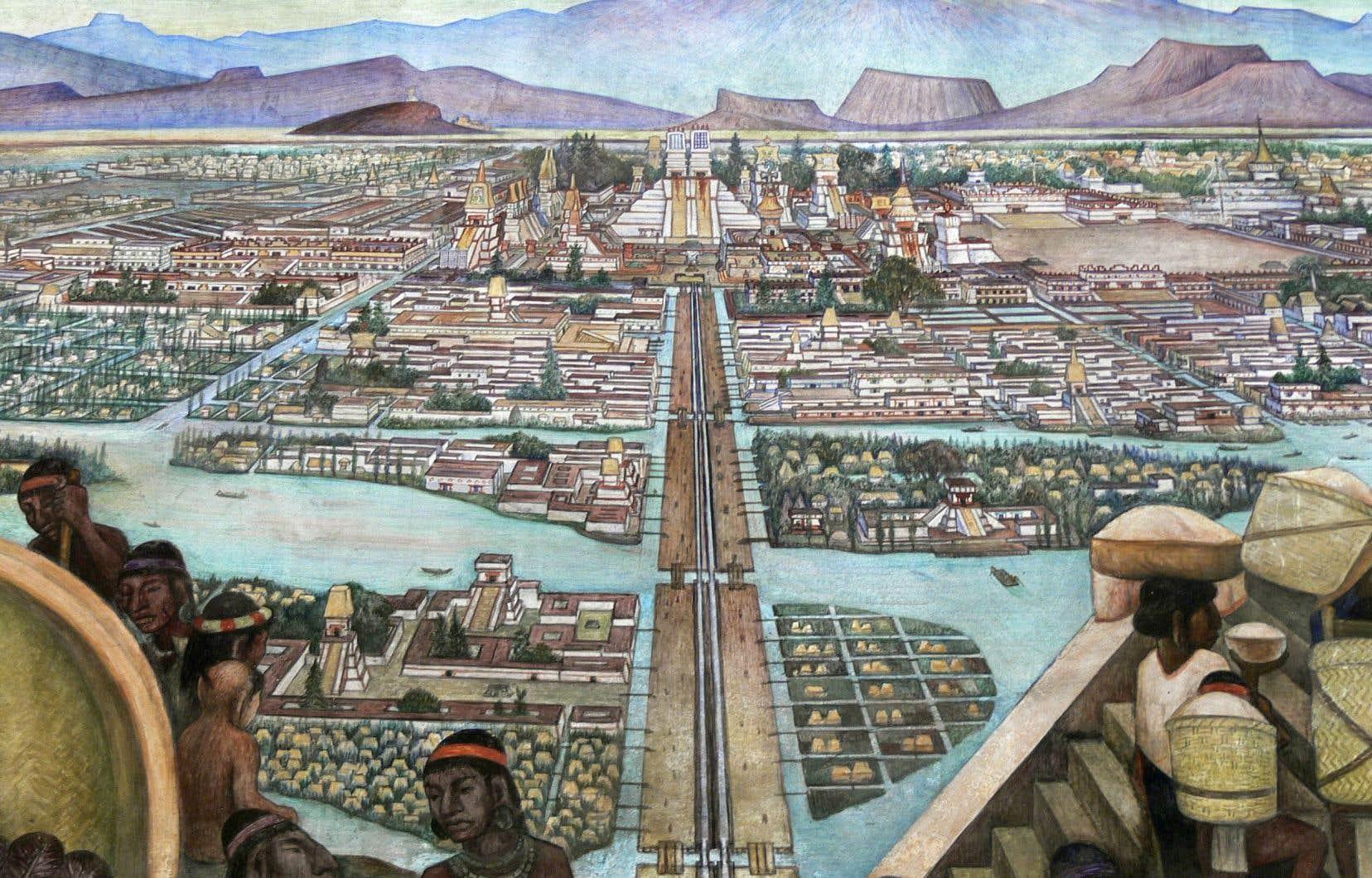 Murale de Diego Rivera représentant Tenochtitlan, devenue plus tard Mexico, à l'époque aztèque.