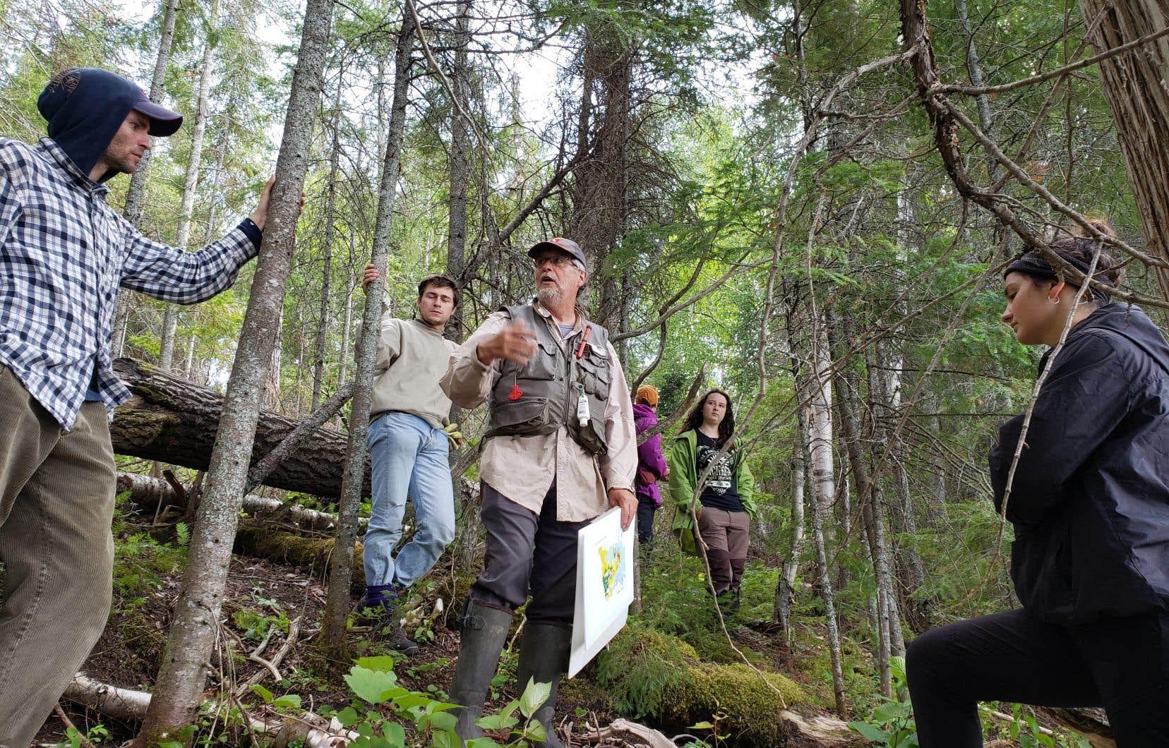 Yves Bergeron  (à l'avant-plan) étudie comment la forêt boréale  a été perturbée sur plusieurs millénaires par  la dynamique  des incendies  et d'autres phénomènes naturels.