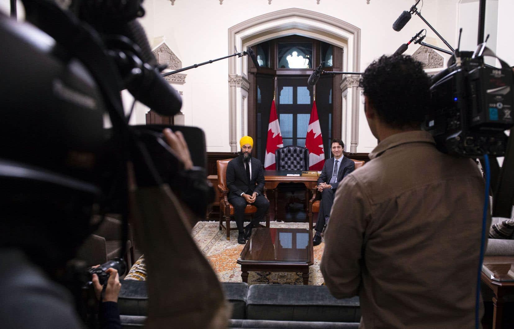C'était au tour du chef du NPD, Jagmeet Singh, d'être reçu par le premier ministre, Justin Trudeau.