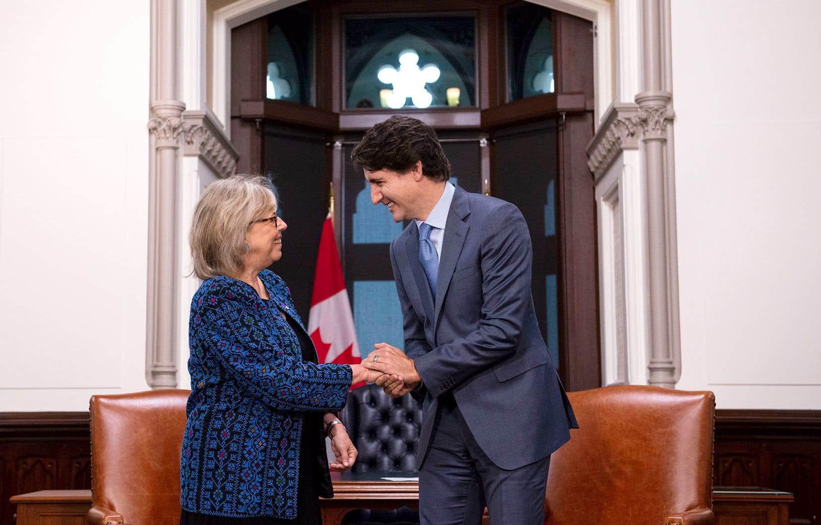 Le premier ministre, Justin Trudeau, a reçu à son bureau la leader parlementaire du Parti vert, Elizabeth May.