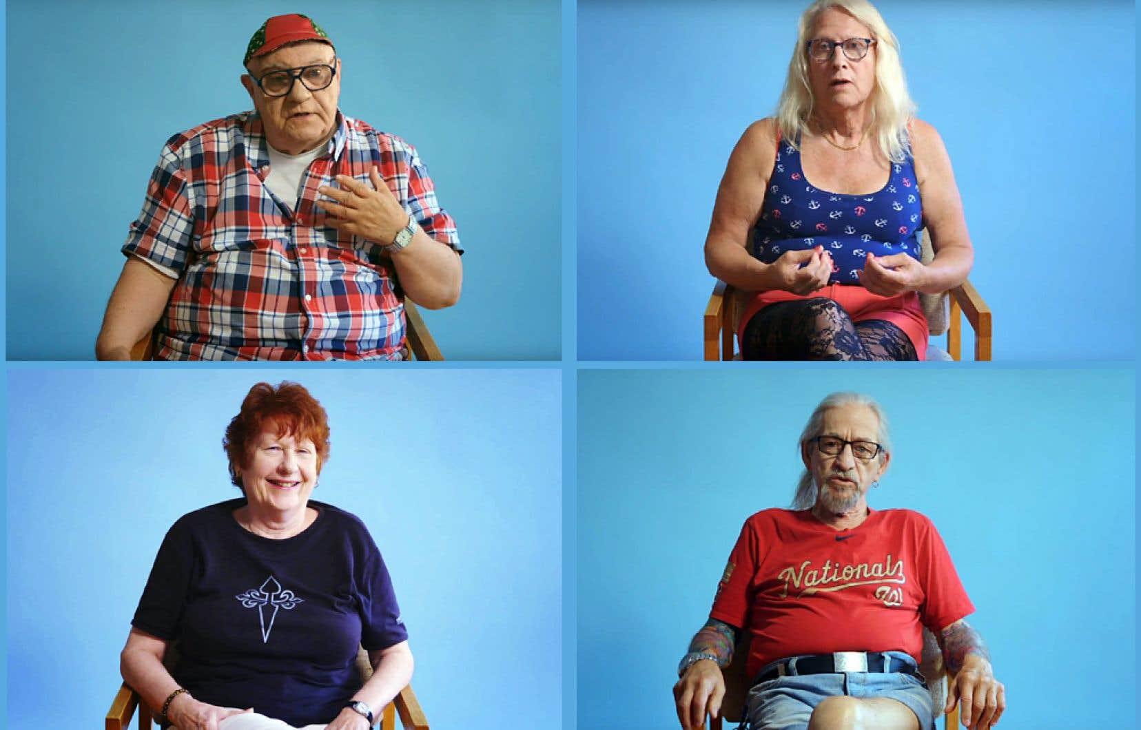 Royal (en haut à gauche), 74 ans, Chloé (en haut à droite), 70 ans, Diane, 72 ans, et Gérald, 73 ans, ont accepté de parler de leur sexualité dans des capsules vidéo qui seront diffusées sur le site Internet de l'organisme Les 3 sex* et sur les réseaux sociaux jusqu'en avril. Le but, dit l'organisme, est d'éveiller les consciences sur le fait que le sexe chez les aînés est vécu et apprécié et qu'il doit être assorti de droits.