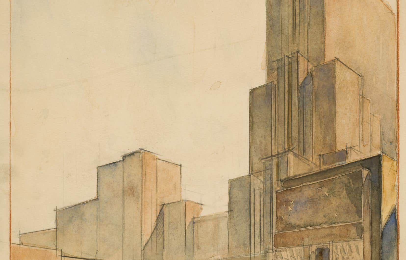 Boris Iofan. Projet pour le concours du Commissariat du peuple à l'industrie lourde (NKTP), Moscou, 1935. Centre canadien d'architecture.