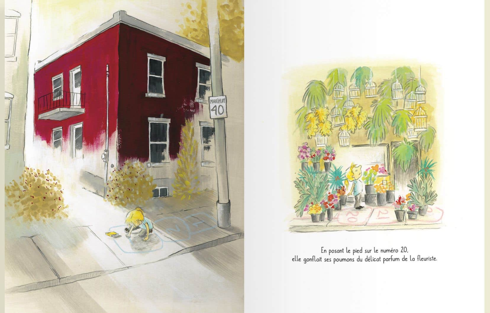 Deux pages d'illustrations de Geneviève Després tirées de «La case 144»