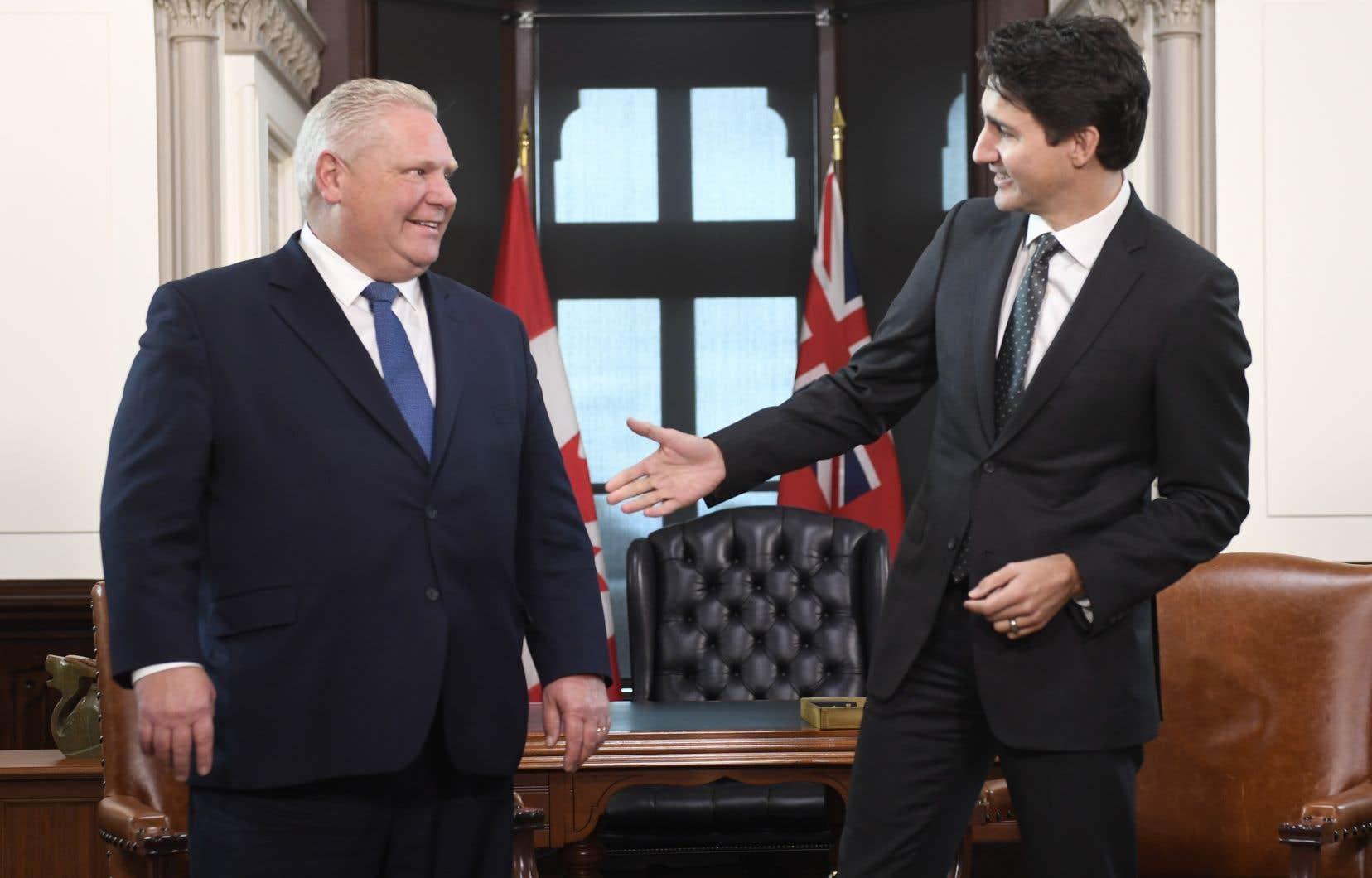 Doug Ford et Justin Trudeau ont passé une cinquantaine de minutes ensemble.