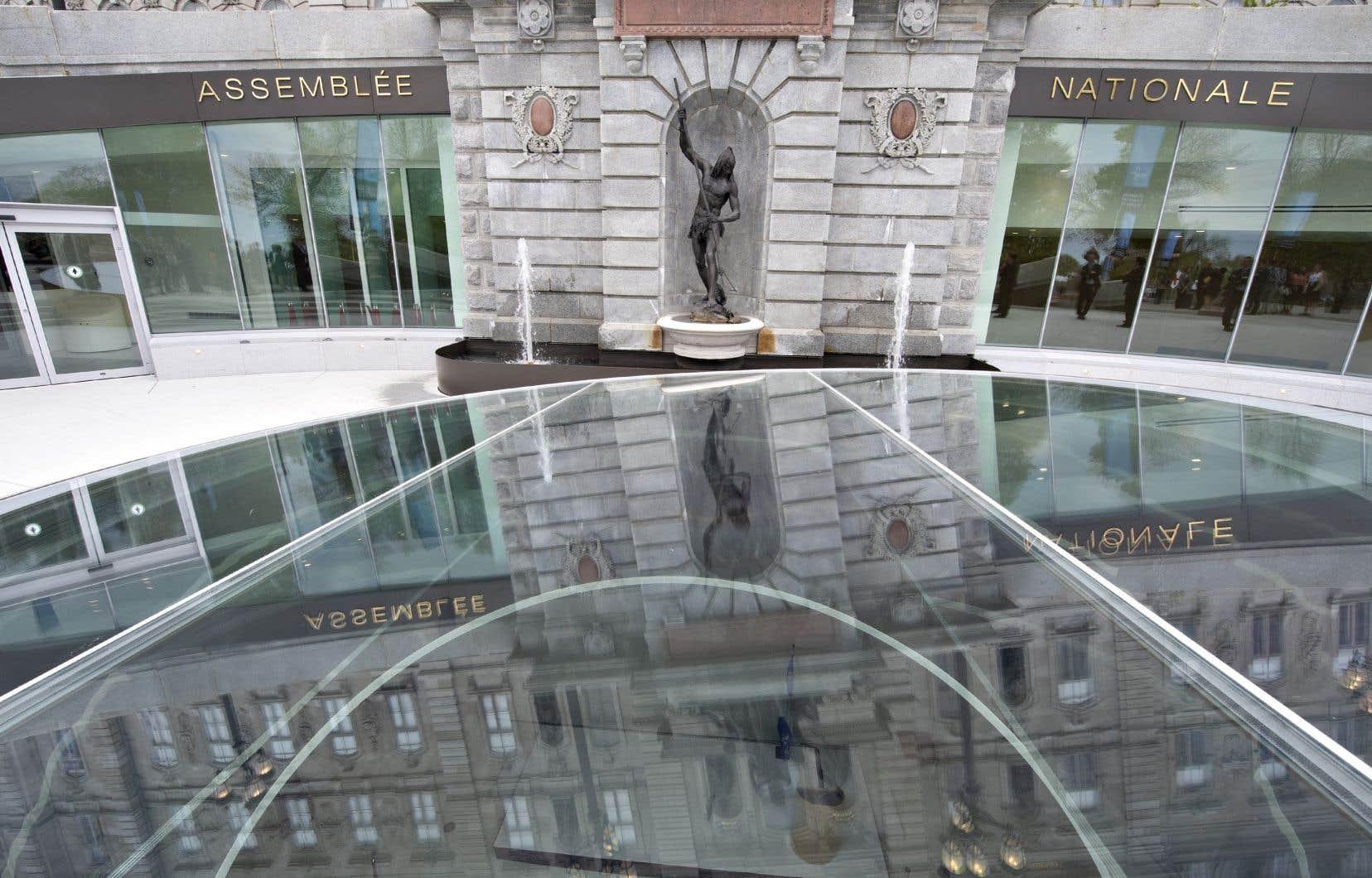 La lucarne sur le hall d'entrée principal du nouveau pavillon d'entrée à l'Assemblée nationale, à Québec