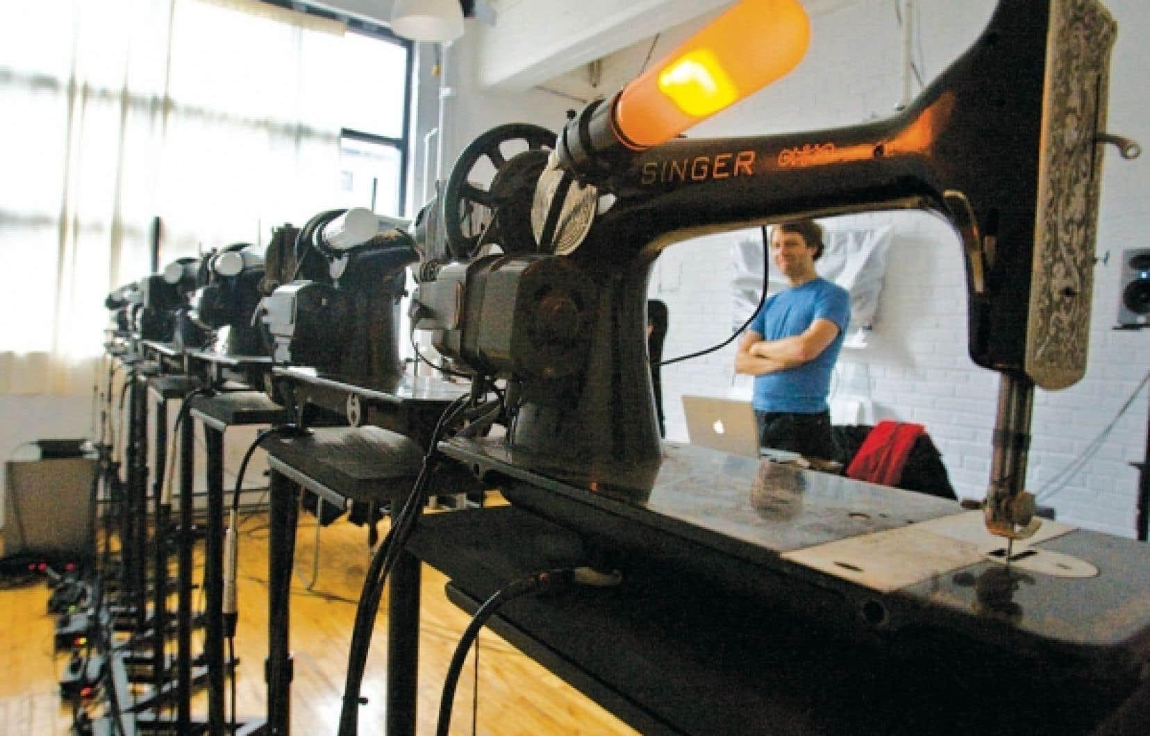 «Ces machines à coudre ont une vie, une histoire, une sonorité unique», estime Martin Messier.<br />