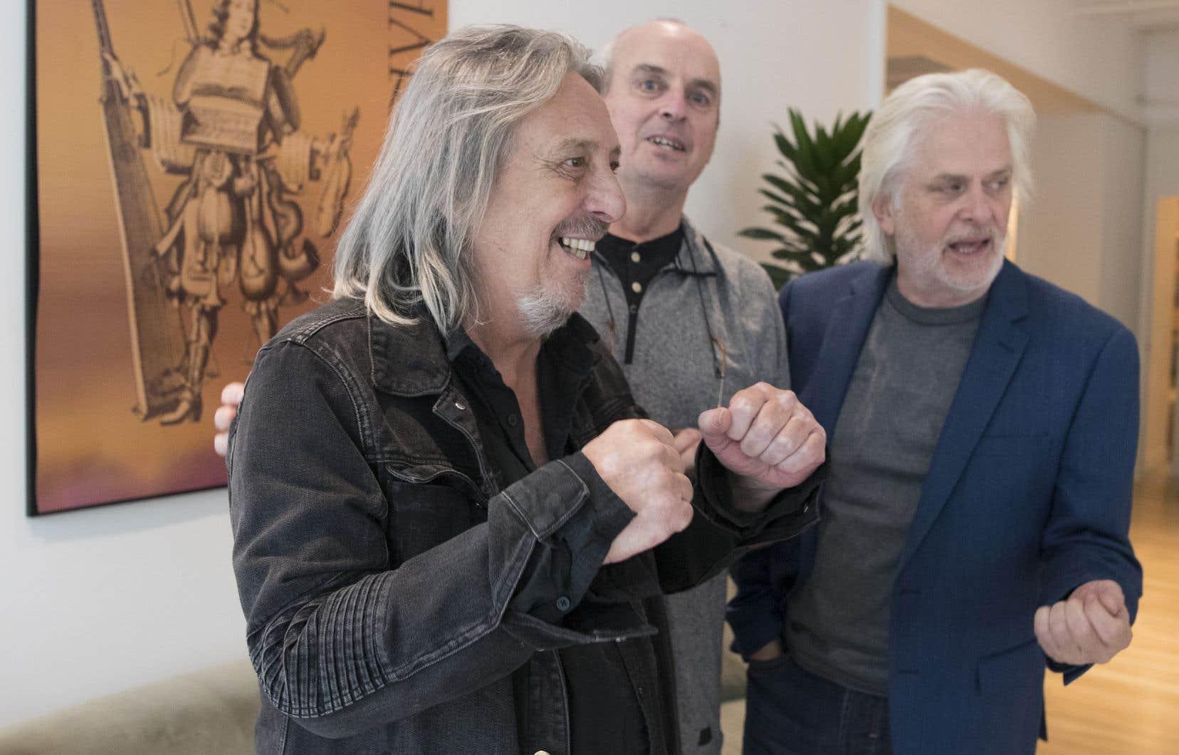 Le groupe d'origine réuni: Serge Fiori, Michel Normandeau et Louis Valois. Il aura fallu aussi la grande réconciliation.
