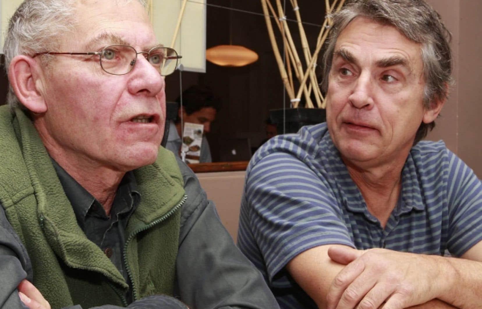 Le metteur en scène de Premier amour, Jean-Marie Papapietro, en compagnie du comédien Roch Aubert<br />