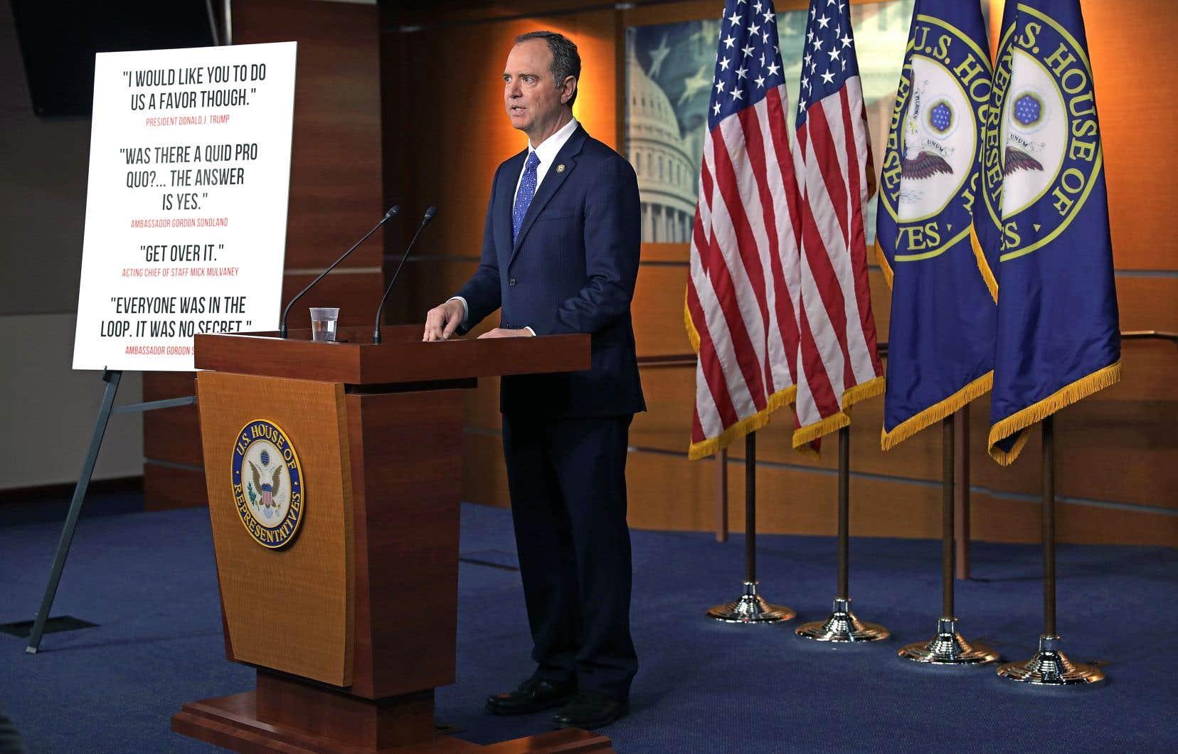 Adam Schiff, président de la commission du Renseignement, a présenté, mardi, à Washington, le rapport d'enquête contre Donald Trump.