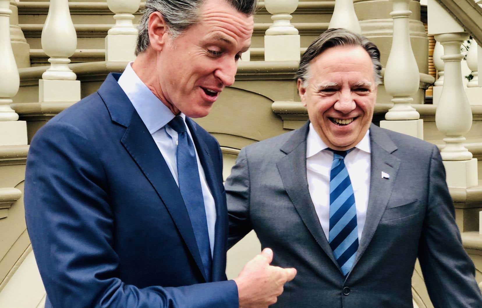 François Legault et Gavin Newson se sont tous deux engagés durant leurs échanges à Sacramento à convaincre d'autres États et provinces à joindre le marché du carbone.