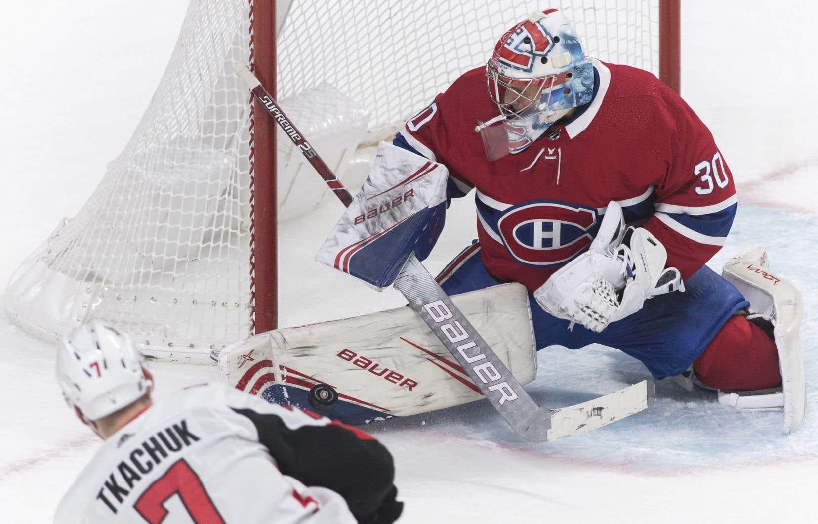 Le gardien Cayden Primeau a brillé lors de la victoire du Canadien face aux Sénateurs d'Ottawa mercredi.