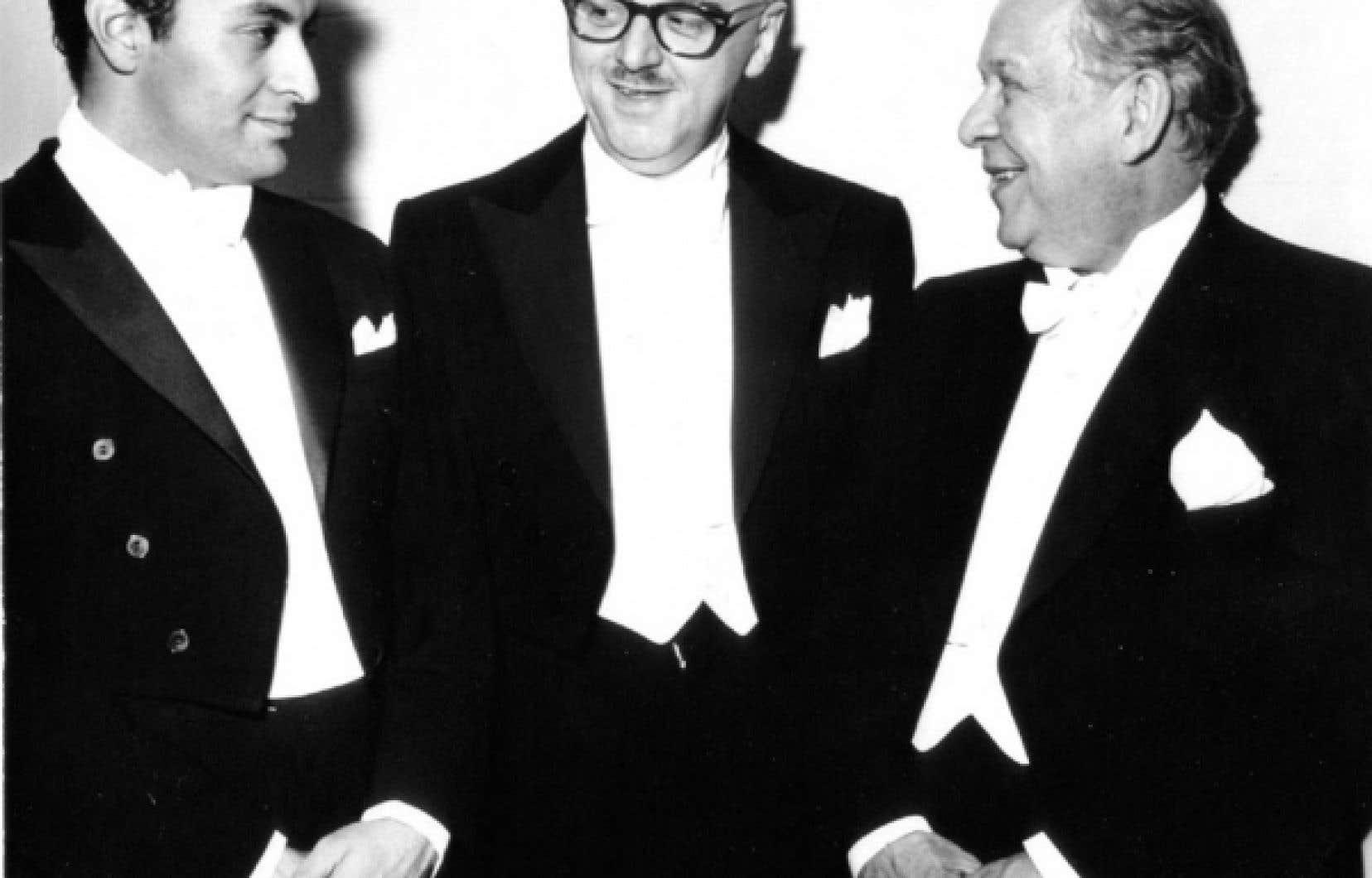 Wilfrid Pelletier, à droite, est le premier directeur musical de l'OSM. Il a partagé avec Zubin Mehta (à gauche) le concert inaugural de la Place des Arts, le 21 septembre 1963.