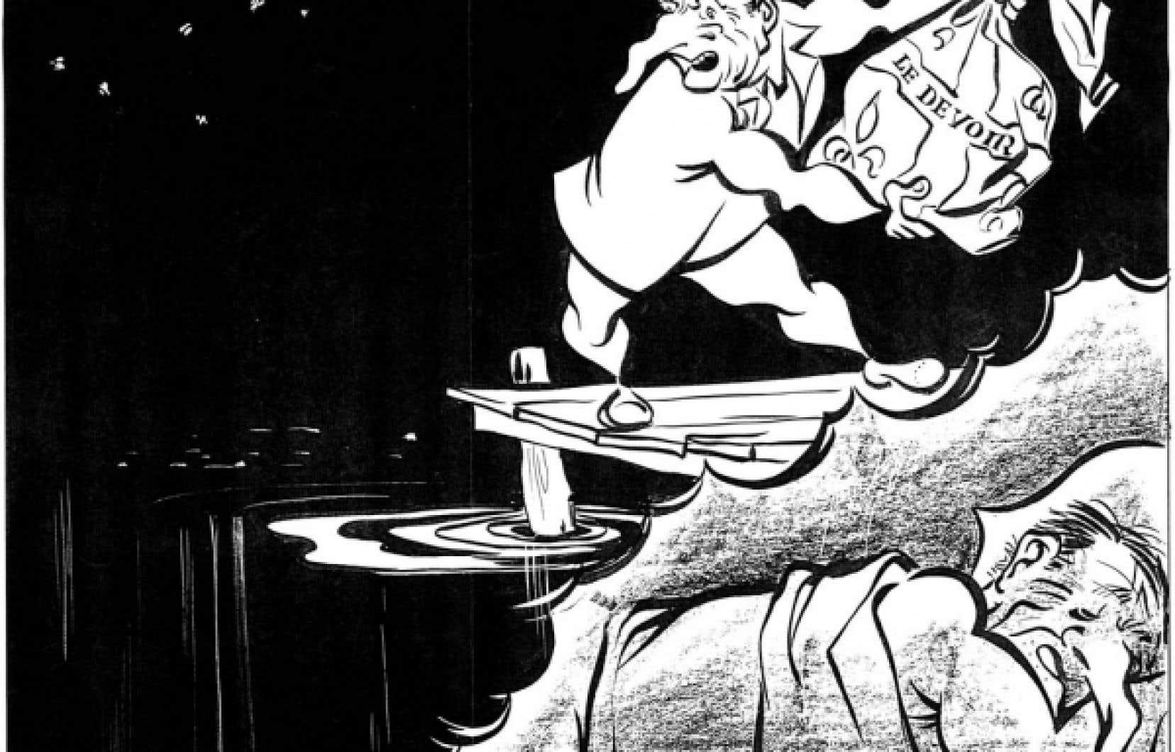 Caricaturiste au Devoir au cours des années 1950, Robert LaPalme (1908-1997) multiplie les charges contre celui qui, à son sens, symbolise l'obscurantisme: Maurice Le Noblet Duplessis. Le premier ministre s'en prendra régulièrement au Devoir.
