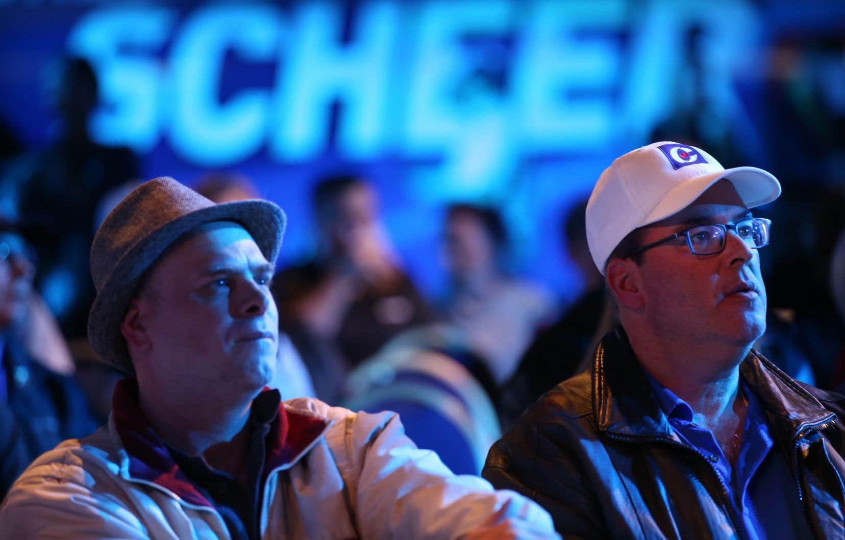 Des partisans d'Andrew Scheer, lors de sa défaite électorale en octobre dernier