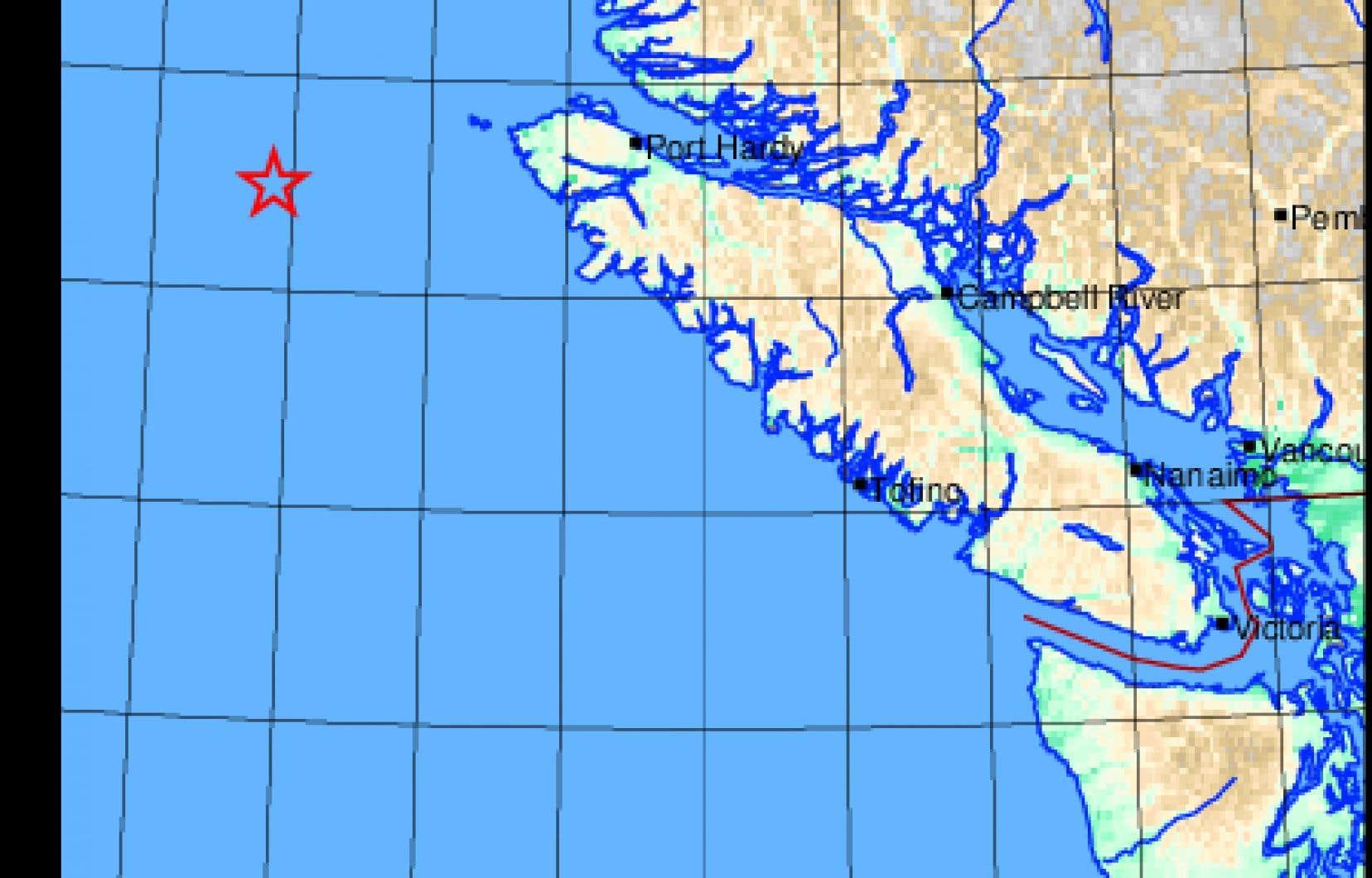 L'épicentre se trouvait à 188 kilomètres à l'ouest de Port Hardy.
