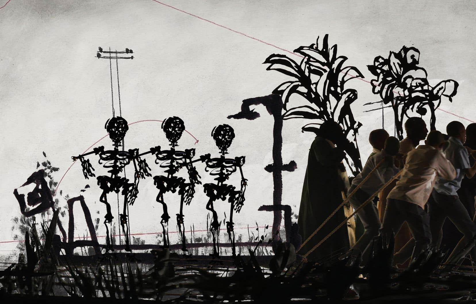 Vue de l'installation «More Sweetly Play the Dance» (2015) de William Kentridge à la Marian Goodman Gallery, à New York. Le Musée des beaux-arts du Canada, à Ottawa, en a fait l'acquisition en 2016. © William Kentridge avec la permission de la Marian Goodman Gallery