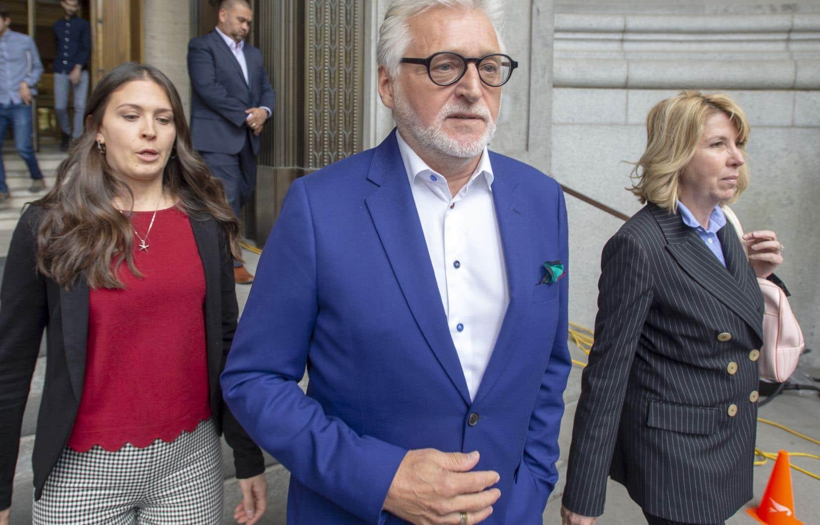 L'ex-magnat de l'humour Gilbert Rozon lors d'un passage au palais de justice en mai dernier