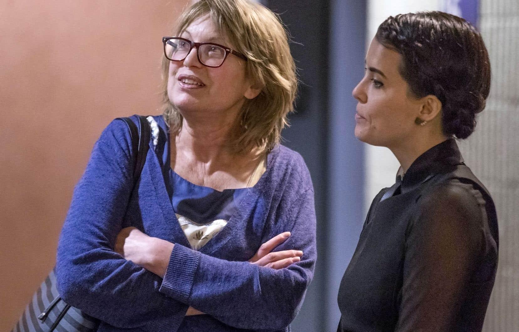 Patricia Tulasne et Geneviève Allard du groupe Les Courageuses, qui tentent d'intenter une action collective contre Gilbert Rozon.