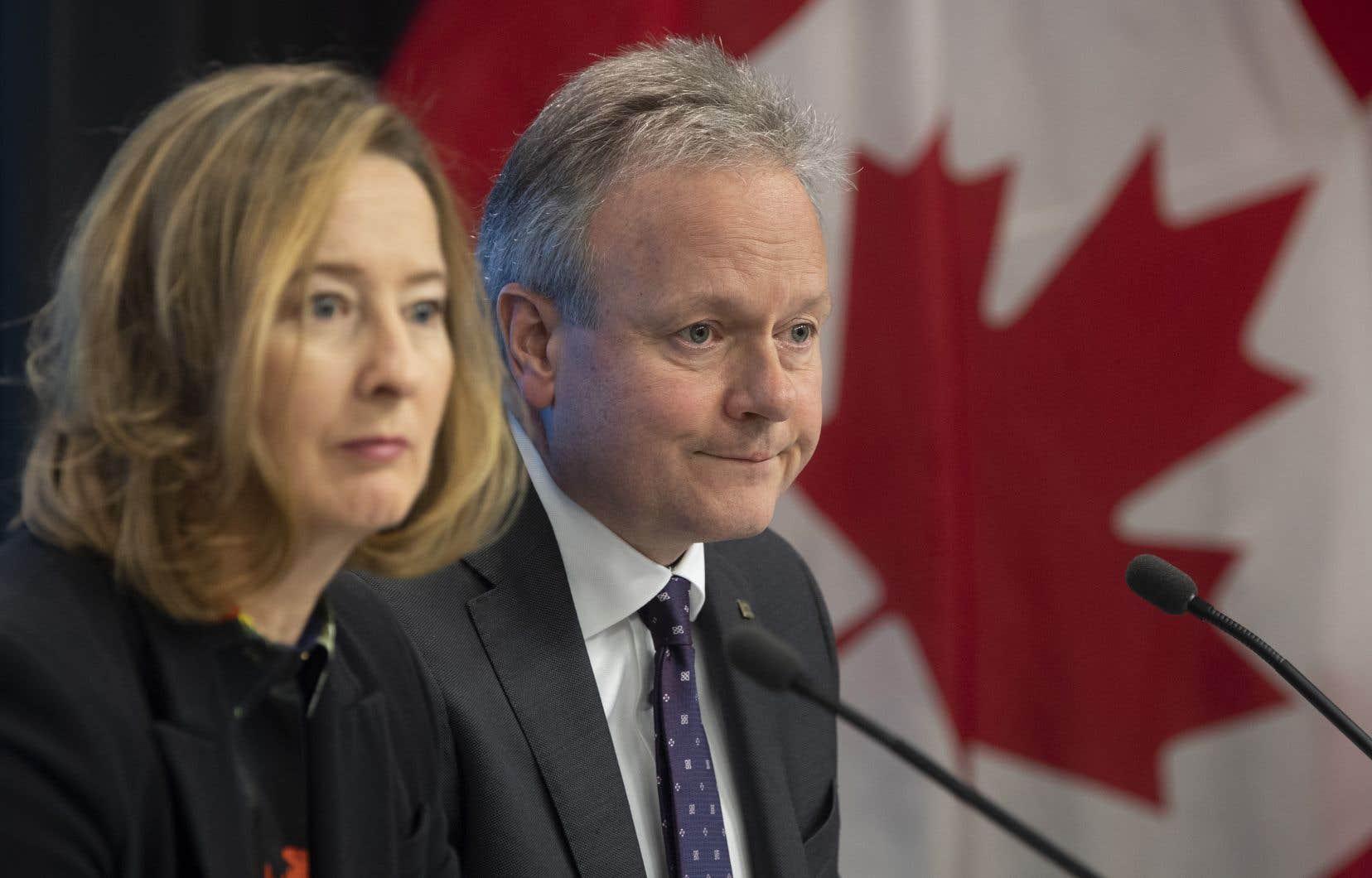 Ayant pour mission de garder l'inflation stable, la Banque du Canada s'attend, cette année, à atteindre presque exactement sa cible avec 1,9% en 2020. Sur la photo, le gouverneur Stephen Poloz et la première sous-gouverneure Carolyn Wilkins
