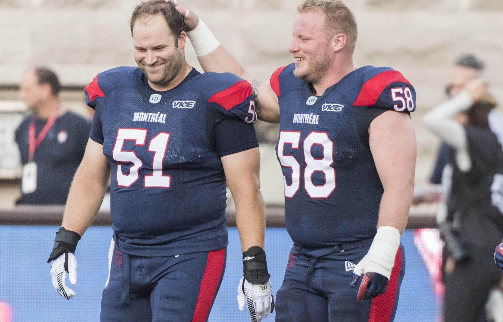 Kristian Matte, ici avec Luc Brodeur-Jourdain, ne se voit pas jouer ailleurs qu'à Montréal.