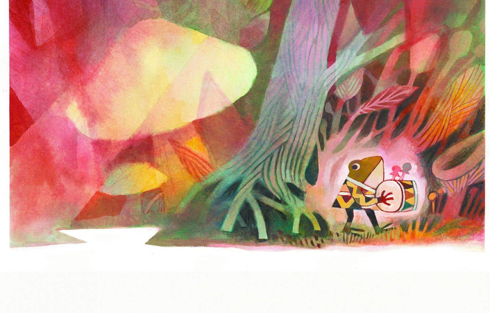 Illustration de Matthew Forsythe tirée de «Pokko et le tambour»