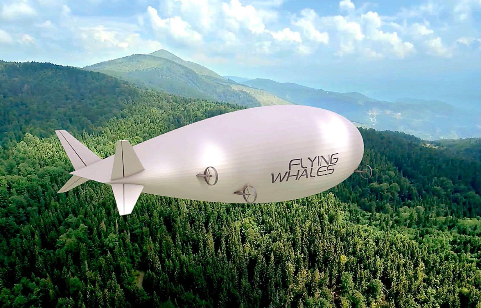 Le projet de ballons dirigeables est destiné au transport de bois ou de pièces de pylônes ou d'éoliennes.