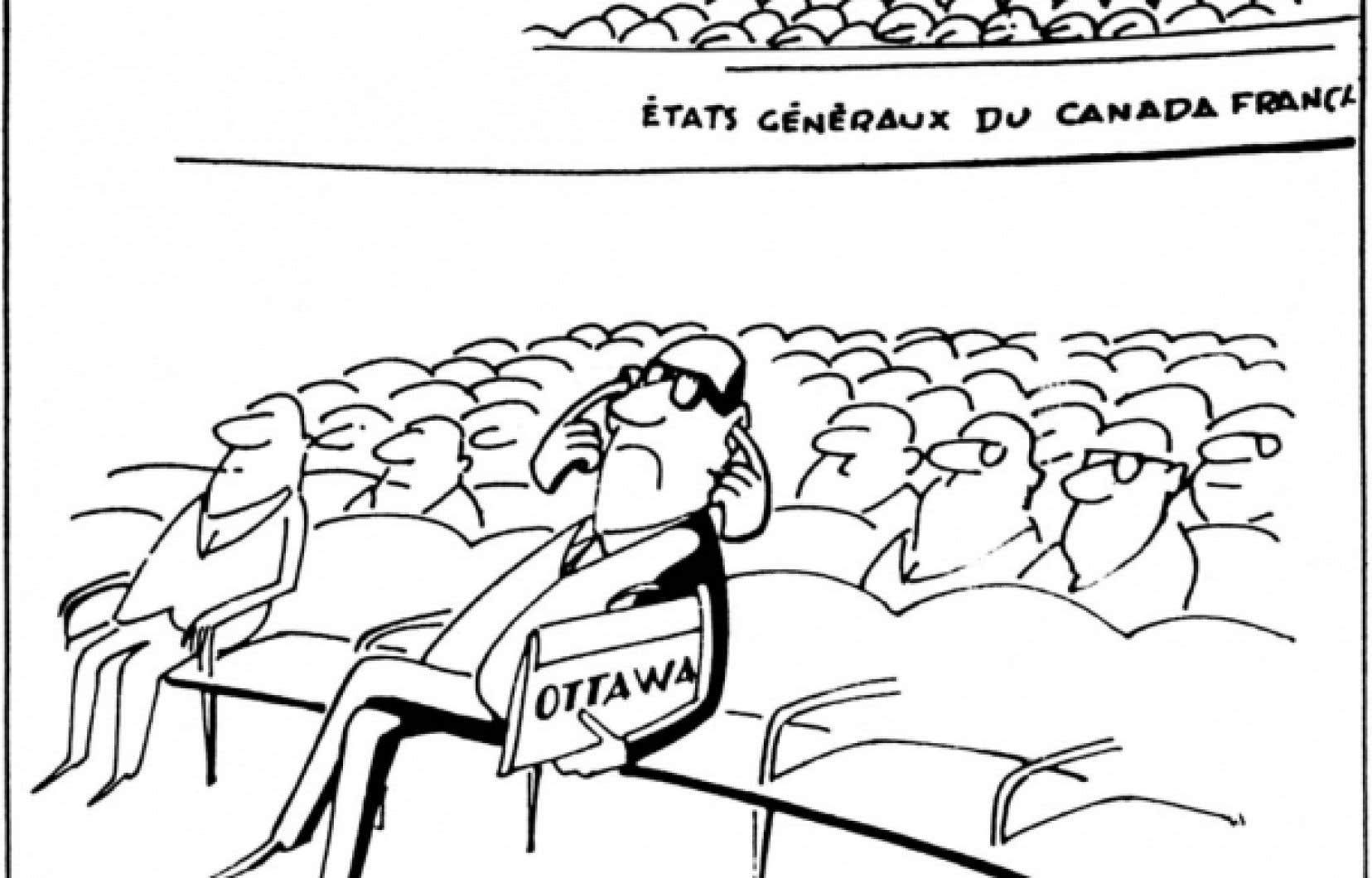 La caricature de Berthio parue dans Le Devoir du 25 novembre 1967.<br />