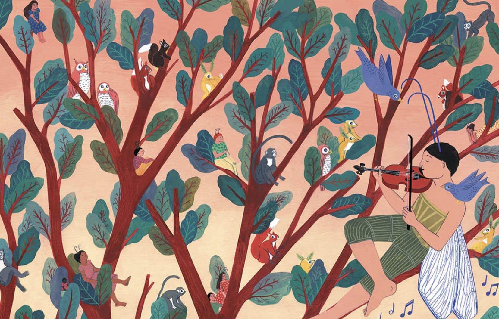 Illustration (détail) tirée de «Robinson et l'arbre de vie»
