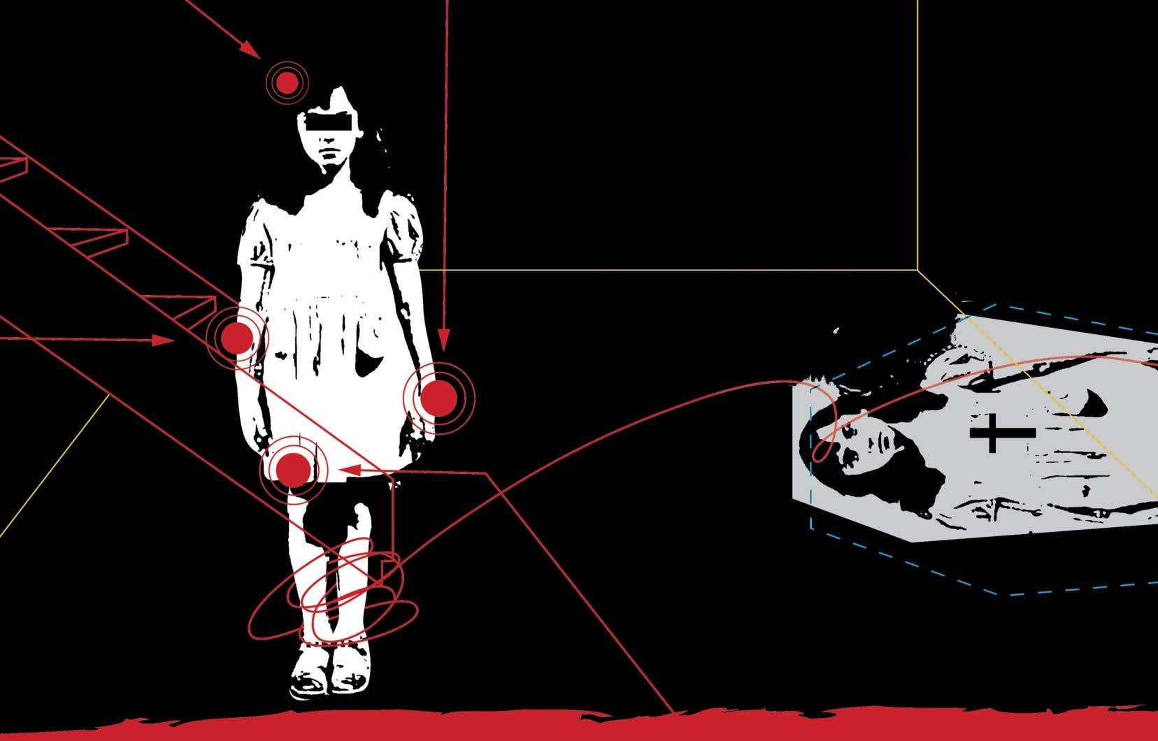 Ce petit corps sans défense portait 54 plaies, dont certaines laissaient entendre qu'Aurore avait été ligotée aux poignets et aux chevilles. On releva la présence de brûlures, ainsi qu'une accumulation de matière sanguinolente sous le cuir chevelu.