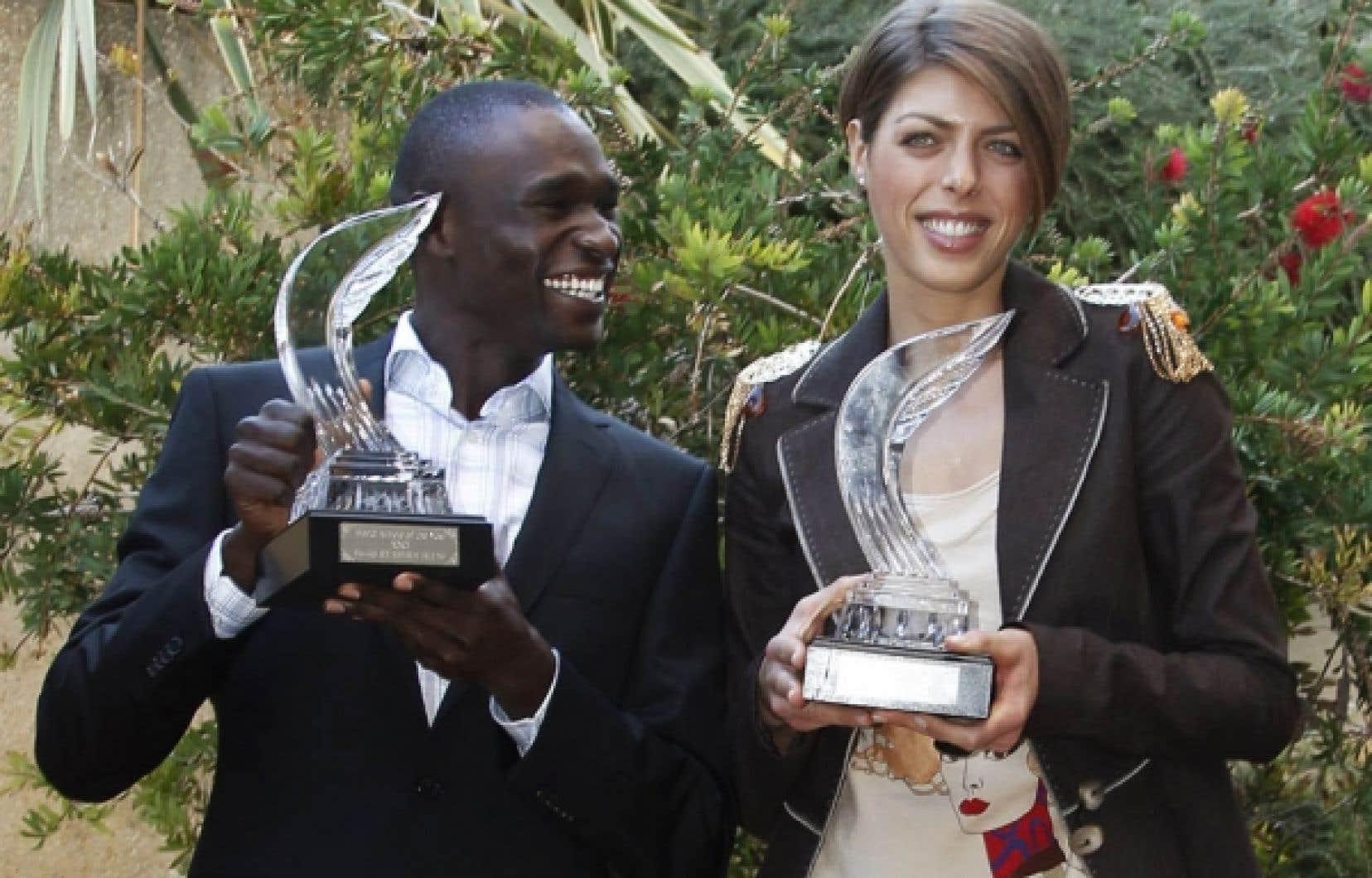 Le coureur de demi-fond kenyan David Rudisha et la sauteuse en hauteur croate Blanka Vlasic ont été sacrés hier athlètes de l'année par la Fédération internationale (IAAF).