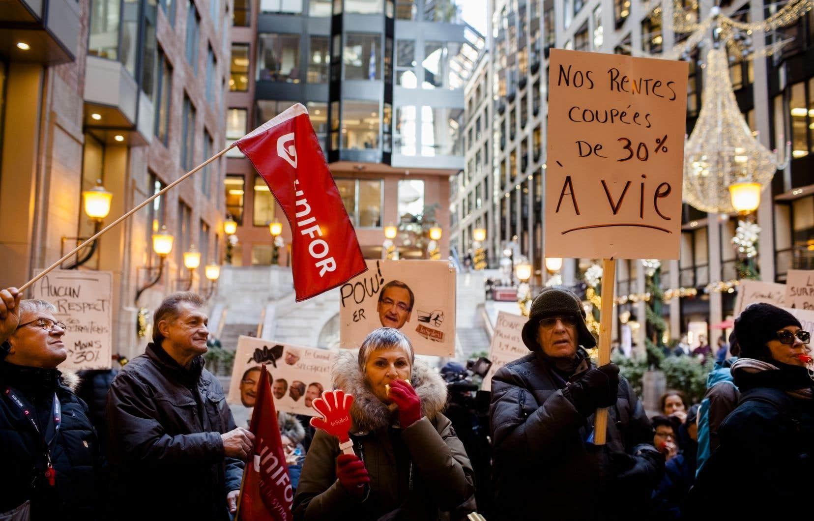 Manifestation des retraités du Groupe Capitales Médias, en décembre 2019
