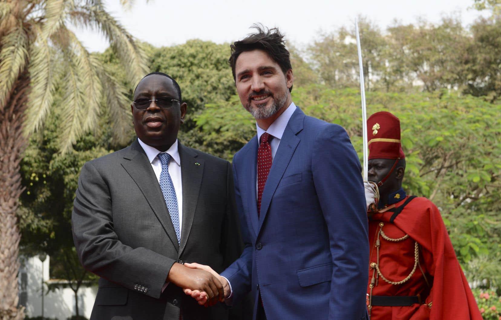 Le président sénégalais, Macky Sall, et le premier ministre canadien, Justin Trudeau, au palais présidentiel de Dakar