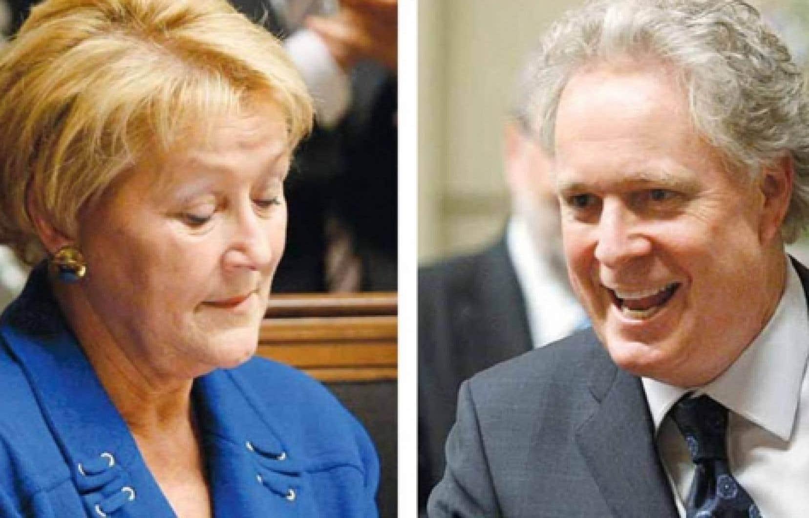 La chef de l'opposition officielle, Pauline Marois, et le premier ministre Jean Charest, à l'issue du vote d'hier sur la motion de censure.