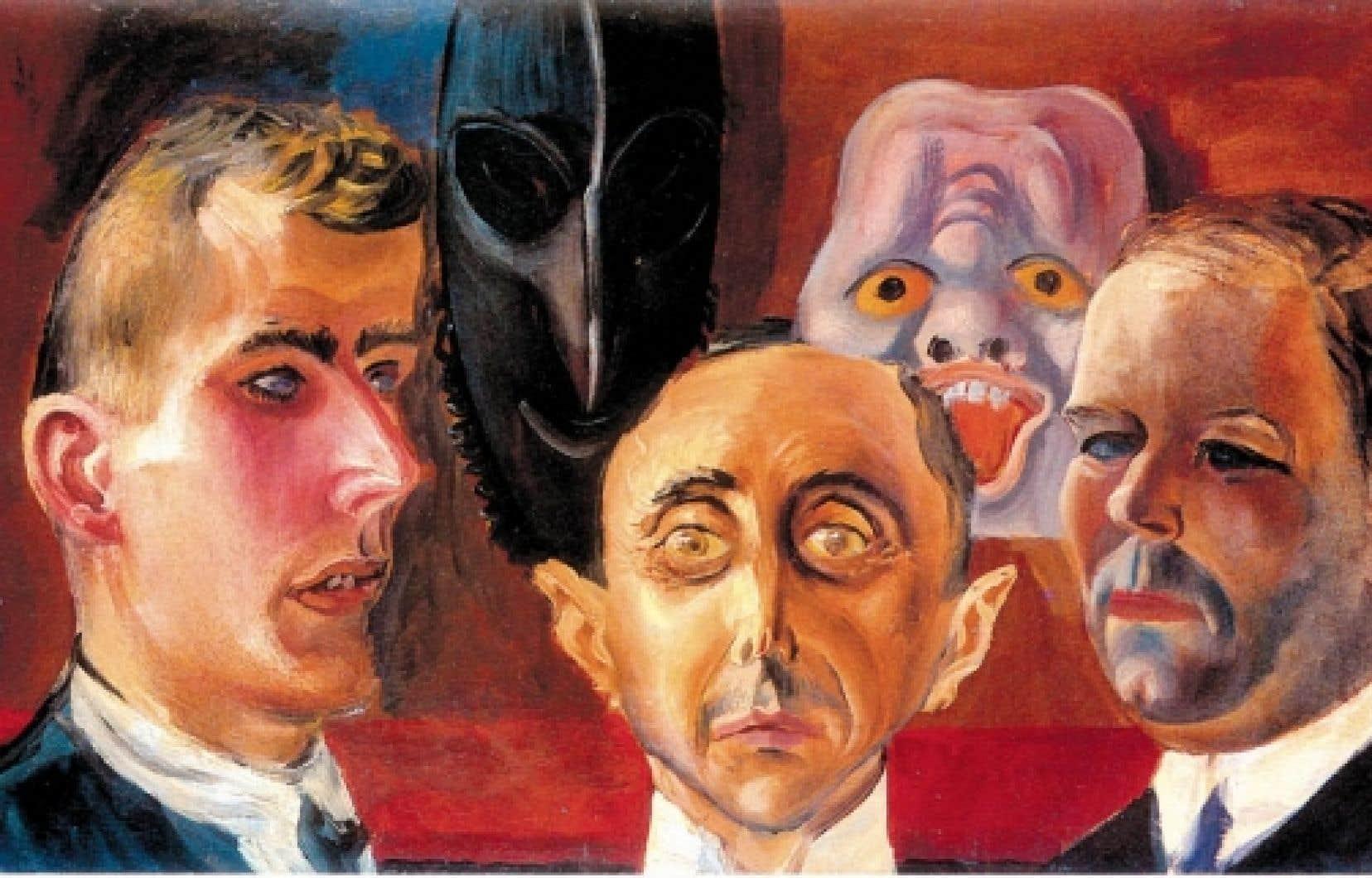 Portrait de groupe: Günther Franke, Paul Ferdinand Schmidt et Karl Nierendorf, Otto Dix, 1923. Staaliche Museen Preußischer Kulturbesitz, Nationalgalerie Berlin<br />