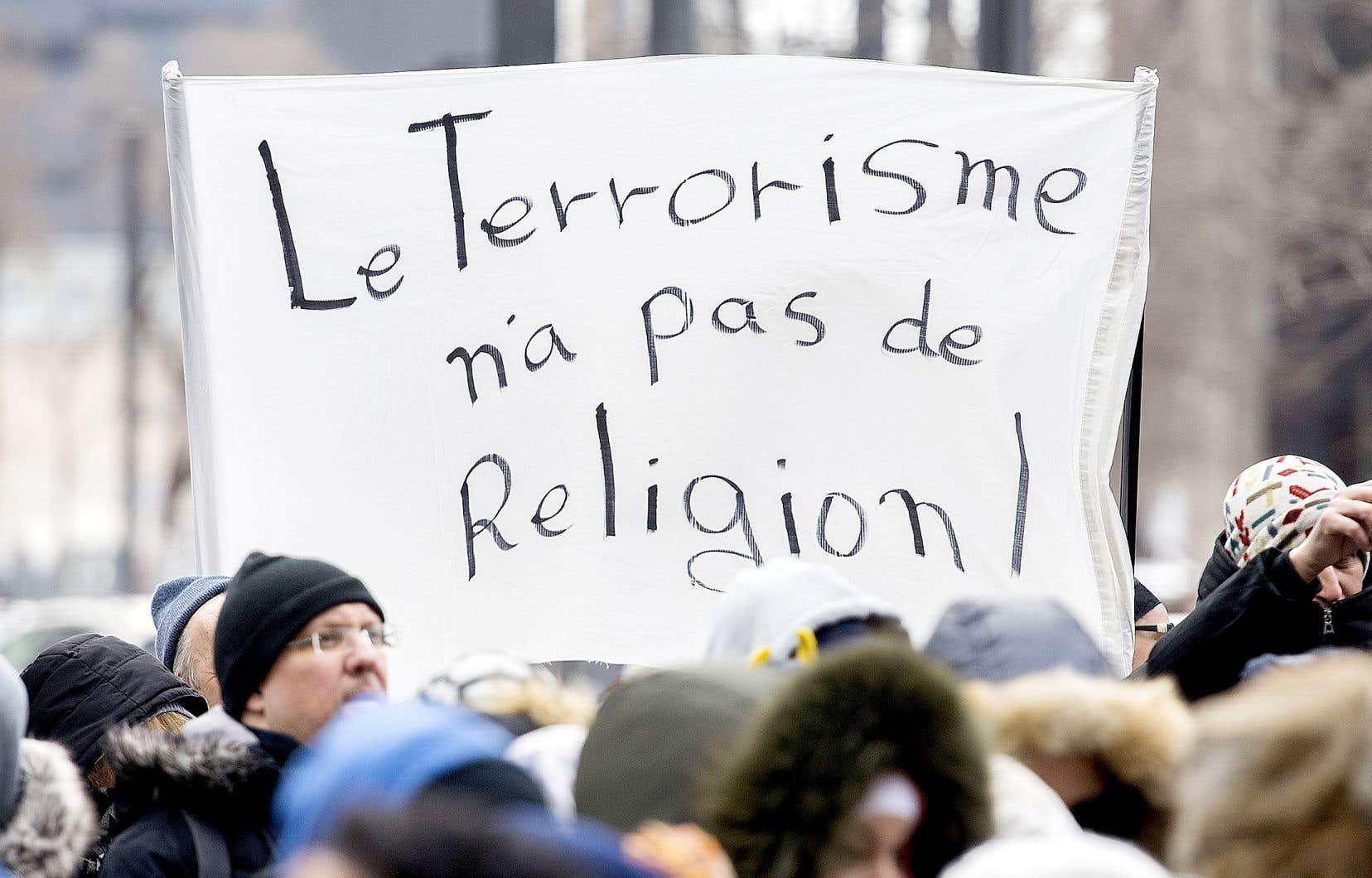 Manifestation à Montréal contre les crimes haineux, tenue le 17mars 2019.